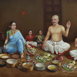 Feast in Brahmin Family by Shardul Kadam, Realism Painting, Oil on Canvas, Brown color