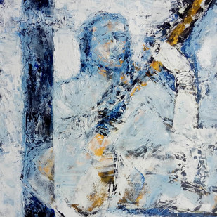 Music of the Heart by Aditya Dev, Decorative Painting, Oil on Canvas, Gray color