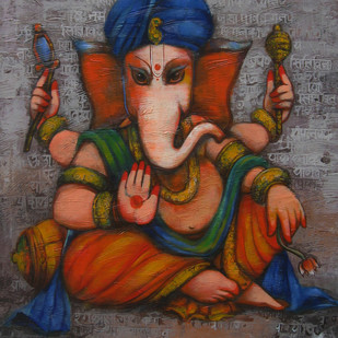 Ganesha by Anindya Mukherjee, Decorative Painting, Acrylic on Canvas, Brown color