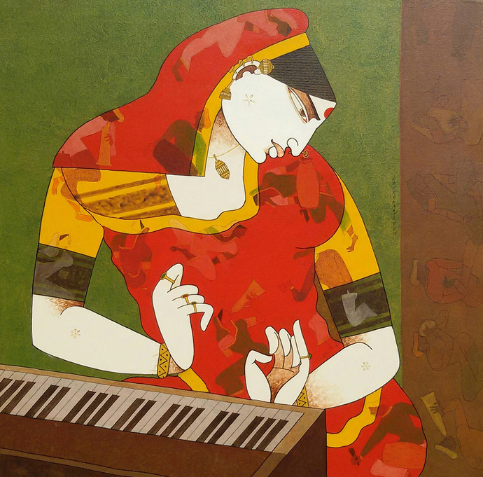 Musician by Chikmath F V , Traditional Painting, Acrylic on Canvas, Brown color