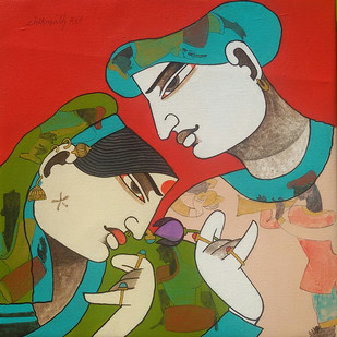 Couple by Chikmath F V , Traditional Painting, Acrylic on Canvas, Beige color