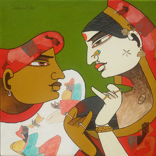 Couple by Chikmath F V , Traditional Painting, Acrylic on Canvas, Brown color