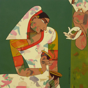 Bazan by Chikmath F V , Traditional Painting, Acrylic on Canvas, Green color