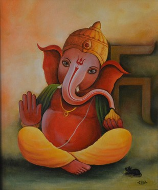 Ganesha 59 by Atul Virkar, Decorative Painting, Acrylic on Canvas, Brown color