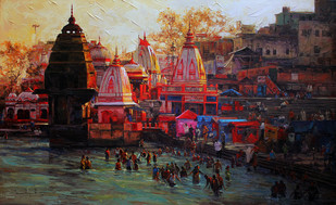 Haridwar 01 by Iruvan Karunakaran, , , Brown color
