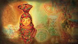 Mother Goddess by Dr. Bharati Mate, Conceptual Painting, Mixed Media on Canvas, Brown color