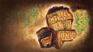 Indus Script by Dr. Bharati Mate, Conceptual Painting, Mixed Media on Canvas, Brown color