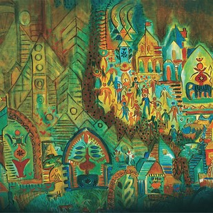 Indus City by Dr. Bharati Mate, Conceptual Painting, Mixed Media on Canvas, Green color