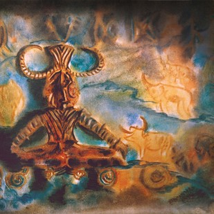 Pashupati by Dr. Bharati Mate, Conceptual Painting, Oil & Acrylic on Canvas, Brown color
