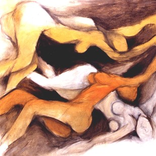 Waves of Woman by Milon Mukherjee, Conceptual , Oil on Canvas, Brown color