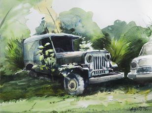 Old Zip Car by Agnimitra Das, Impressionism Painting, Watercolor on Paper, Green color