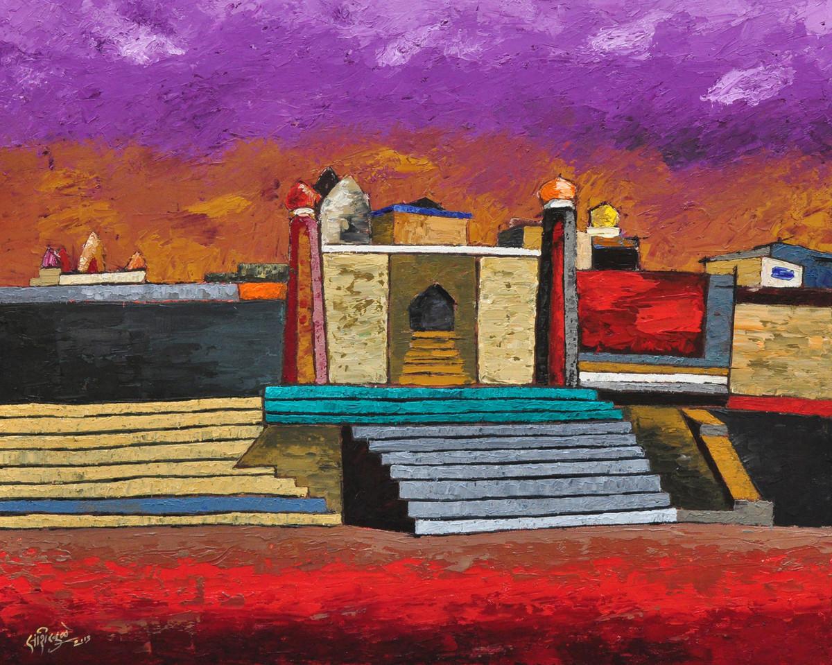 Banaras by Sandesh Khule, Decorative Painting, Oil on Canvas, Brown color