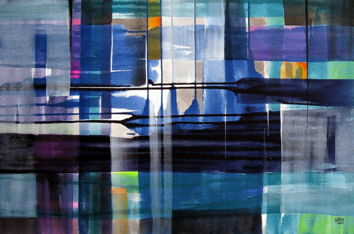 Escape Urbano by Shirish Deshpande, Abstract Painting, Acrylic on Canvas, Blue color