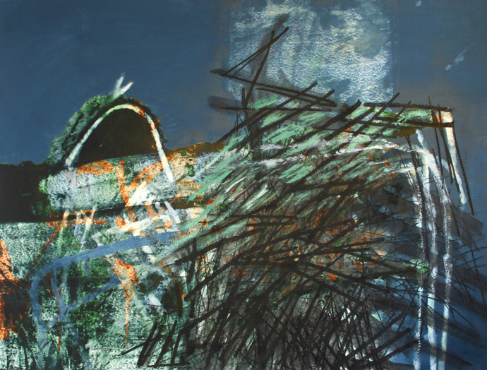 Souvenirs from Imaginary Cities by Suhas Shilker, Abstract Painting, Watercolor on Paper, Green color