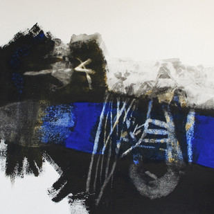 Souvenirs from Imaginary Cities by Suhas Shilker, Abstract Painting, Watercolor on Paper, Gray color