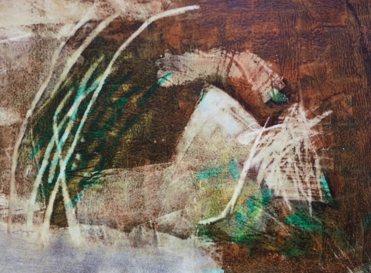 Souvenirs from Imaginary Cities by Suhas Shilker, Abstract Painting, Watercolor on Paper, Brown color