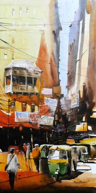The Heritage of Kolkata - IV by Arpan bhowmik, Impressionism Painting, Acrylic on Canvas, Brown color