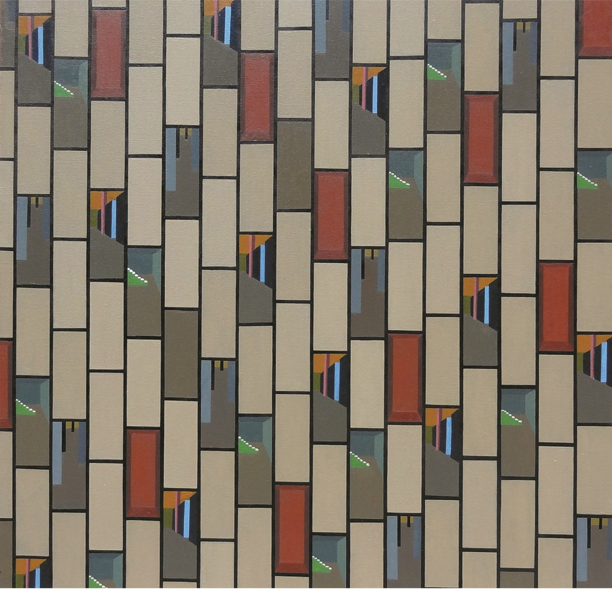 Cityscape by Prem Singh, Geometrical Painting, Oil & Acrylic on Canvas, Brown color