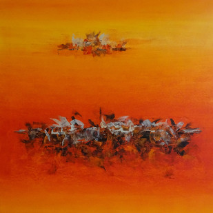 MAHABHARAT by Poonam Rana, Abstract Painting, Acrylic on Canvas, Orange color