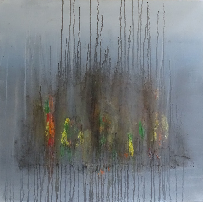 Unclear Images of My Mind by Poonam Rana, Abstract Painting, Acrylic on Canvas, Green color