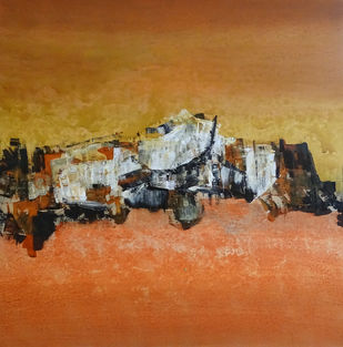 Untitled by Poonam Rana, Abstract Painting, Acrylic on Canvas, Brown color