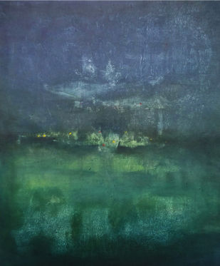 Untitled 07 by Poonam Rana, Abstract Painting, Acrylic on Canvas, Green color