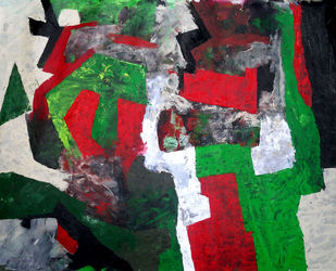 Untitled 02 by Poonam Rana, Abstract Painting, Acrylic on Canvas, Green color