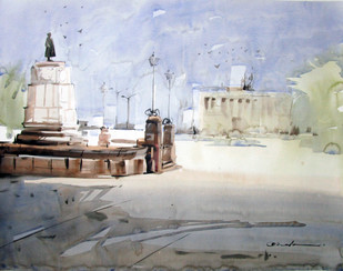 Kolkata 4 by Abak Kundu, Impressionism Painting, Watercolor on Paper, Gray color