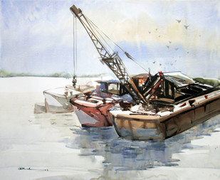 Reflection 2 by Abak Kundu, Impressionism Painting, Watercolor on Paper, Gray color