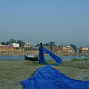 Avtaran - 3 by B Ajay Sharma, Image Photography, Digital Print on Paper, Blue color
