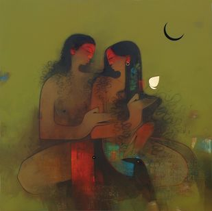 Couple by Amol Pawar, Decorative Painting, Mixed Media on Canvas, Green color