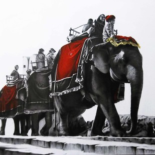 Saware II by Yuvraj Patil, Realism Drawing, Charcoal on Canvas, Gray color