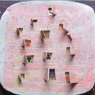 Hide & Seek IV by Falguni Bhatt Sanghavi, Art Deco Sculpture, Ceramic, Pink color