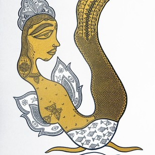 Doyenne by Subhendu Ghosh , Traditional Painting, Acrylic & Ink on Canvas, Gray color