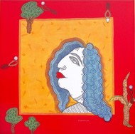 Profile of Nature by Subhendu Ghosh , Traditional Painting, Acrylic & Ink on Canvas, Red color