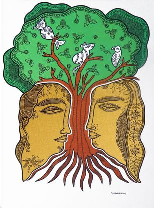 Shelter of Love by Subhendu Ghosh , Traditional Painting, Acrylic & Ink on Canvas, Green color