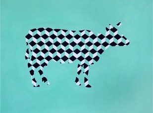Cuboid Cow by Jayesh Sachdev, Geometrical Painting, Acrylic on Canvas, Cyan color
