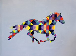 Gallop by Jayesh Sachdev, Geometrical Painting, Acrylic on Canvas, Pink color