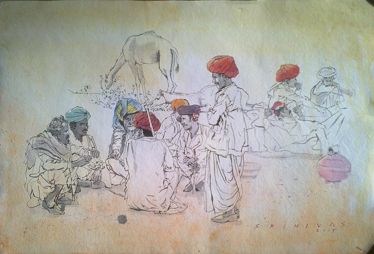 Pushkar Conference Digital Print by Sreenivasa Ram Makineedi,Illustration
