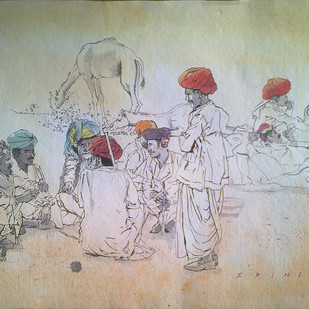Pushkar Conference by Sreenivasa Ram Makineedi, Illustration Painting, Watercolor on Paper, Beige color