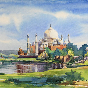 Taj Mahal by Sunil Linus De, Impressionism Painting, Watercolor on Paper, Cyan color