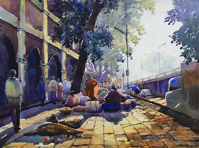 Good Morning by Sunil Linus De, Impressionism Painting, Watercolor on Paper, Brown color
