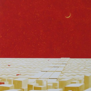 Shadow IX by Kahkashan , Surrealism Painting, Acrylic on Canvas, Red color