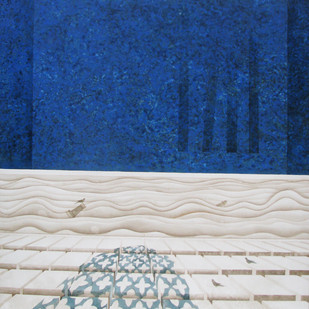 Shadow I by Kahkashan , Surrealism Painting, Acrylic on Canvas, Blue color