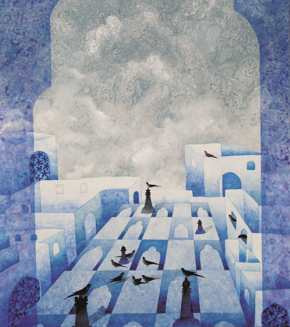 Cityscape XXXI by Kahkashan , Surrealism Painting, Acrylic on Canvas, Gray color