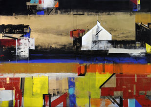 Luminous at Night by Prabhinder Lall, Geometrical Painting, Acrylic on Canvas, Brown color