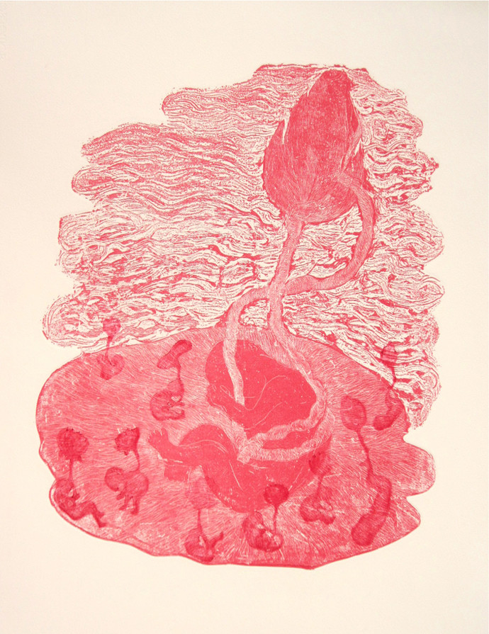 In My Womb by Kavita Nayar , Conceptual Printmaking, Etching on Paper, Pink color