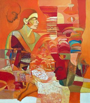 Innocence by Brajmohan Arya, Fantasy Painting, Acrylic on Canvas, Brown color