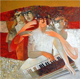 Soul Harmony by Brajmohan Arya, Fantasy Painting, Acrylic on Canvas, Brown color