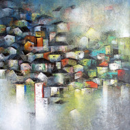 Village of your and my dreams  acrylic on canvas  46 x 36 in